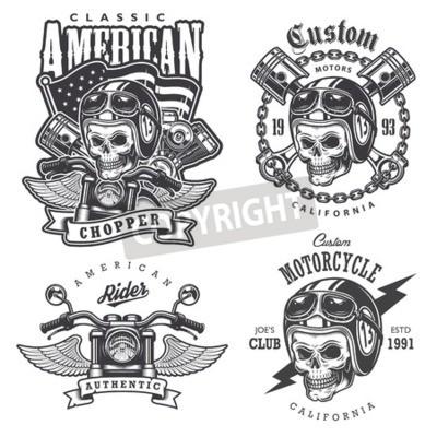 Canvastavlor Uppsättning av Vintage motorcykel t-shirt tryck, emblem, etiketter, märken och logotyper. Monokrom stil. Isolerad på vit bakgrund
