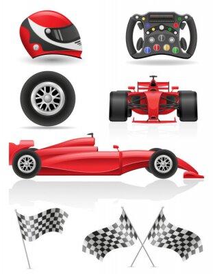 Canvastavlor uppsättning racing ikoner vektor EPS 10