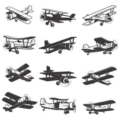 Canvastavlor uppsättning vintage flygplan ikoner. Flygplan illustrationer. Designelement för logotyp, etikett, emblem, tecken. Vektor illustration.