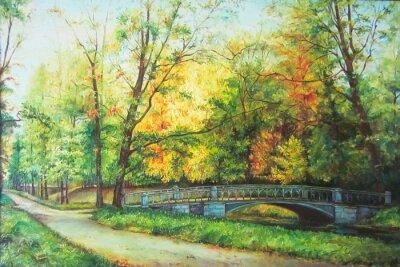 Canvastavlor Ursprungliga oljemålning Bron i skogen