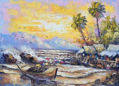 Canvastavlor Ursprungliga oljemålning på duk - gammal fiskebåt i hamnen