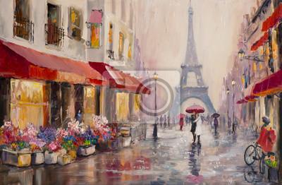 Canvastavlor Ursprungliga oljemålning på duk - Paris - Eiffeltornet - ett par älskare under ett paraply - Modern Art