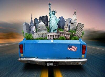 Canvastavlor USA, sevärdheter USA i bagageluckan på en bil som rör sig