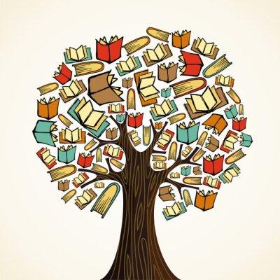 Canvastavlor Utbildning koncept träd med böcker