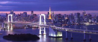 Canvastavlor utsikt över Tokyo Bay, Rainbow bro och Tokyo Tower landmärke
