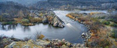 Canvastavlor utsikt till floden i höst