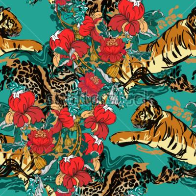 Canvastavlor Vacker abstrakt tiger med röda blommor och trendmönster sömlöst. Design tyg.