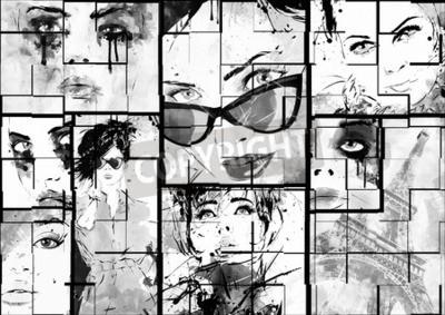 Canvastavlor Vacker collage, ansikten kvinnor. Handmålade modeillustration