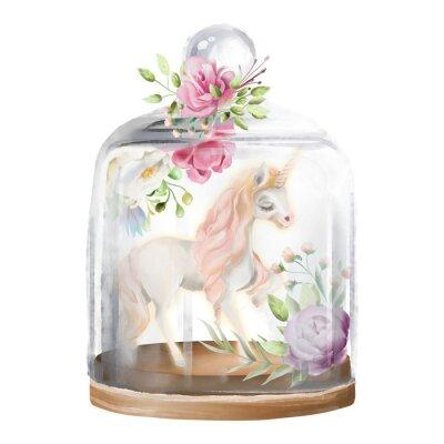 Canvastavlor Vacker, enhörning, magisk häst och blommor i en glasmasonburk. Fantasy vattenfärg illustration isolerad på vitt