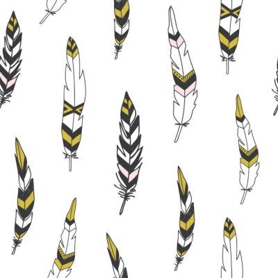 Canvastavlor Vacker indisk seamless med fjädrar i vektor.