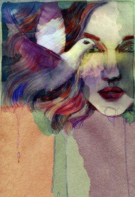 Canvastavlor Vacker kvinna. akvarell illustration
