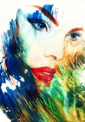 Canvastavlor Vacker kvinna ansikte. Abstrakt sätt akvarellillustration