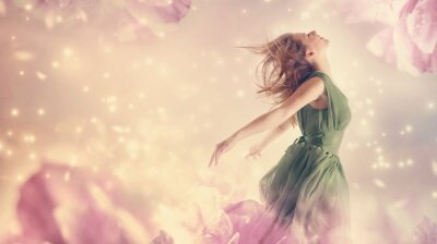 Canvastavlor Vacker kvinna i en rosa pion blomma fantasi