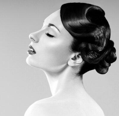 Canvastavlor vacker kvinna med professionell frisyr