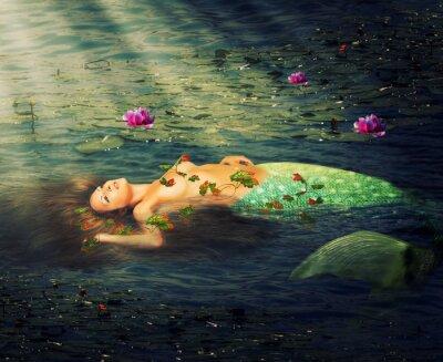 Canvastavlor Vacker kvinna sjöjungfru