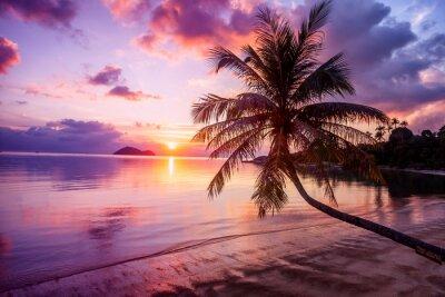 Canvastavlor Vacker ljus solnedgång på en tropisk paradisstrand