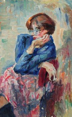 Canvastavlor Vacker Olje- målning av porträtt av en kvinna ljusa färger på duk i Impressionism stil