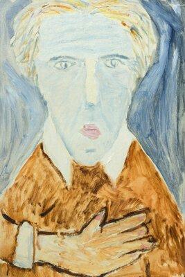 Canvastavlor Vacker Olje- målning av porträtt av en man i orange och grått på duk