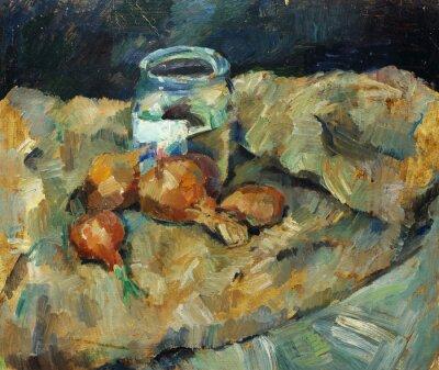 Canvastavlor Vacker Olje- målning av stilleben ..pot glödlampa på tyger på duk i gula och blå färger i stil med impressionismen