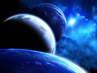 Canvastavlor Vacker plats scen med parad av planeter och nebulosan