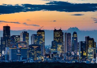 Canvastavlor Vacker silhuett i Tokyo Skyline at Twilight