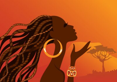 Canvastavlor Vacker svart woman.African kvinna.