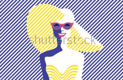 Canvastavlor Vacker ung kvinna med solglasögon och hatt, retro stil. Popkonst. Sommarlov. Vektor eps10 illustration