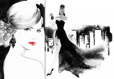 Canvastavlor Vackert ansikte. kvinna med elegant klänning. abstrakt vattenfärg .fashion bakgrund