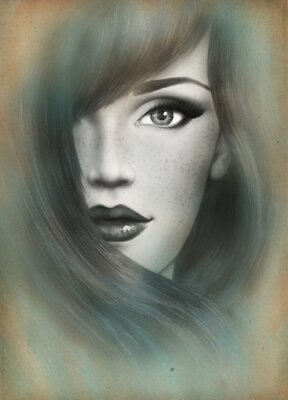 Canvastavlor Vackert ansikte. kvinna porträtt. abstrakt vattenfärg .fashion bakgrund