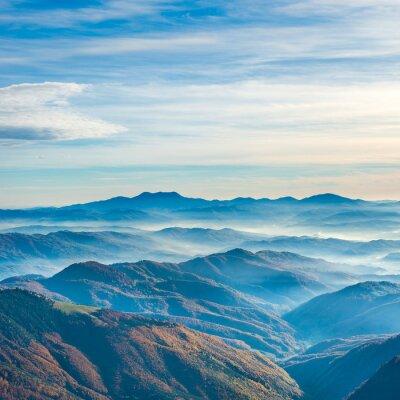 Canvastavlor Vackra blå berg och kullar