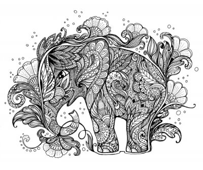 Canvastavlor Vackra handmålade elefant med blom- prydnad