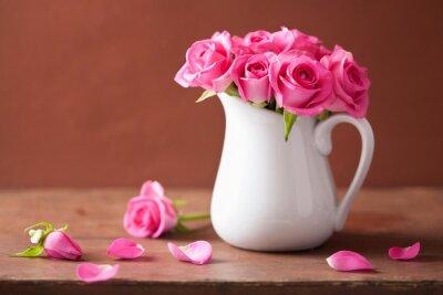 Canvastavlor vackra rosa rosor bukett i vas