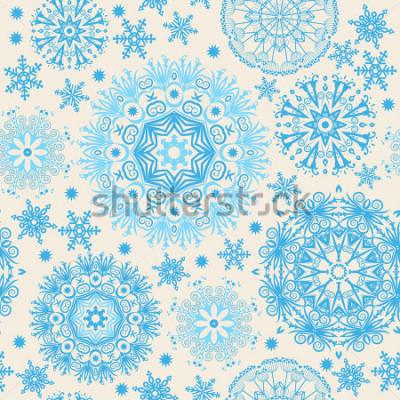 Canvastavlor Vackra snöflingor. Abstrakt sömlös bakgrund med trendiga element. Vektormönster för webbdesign, textil, grafisk design.