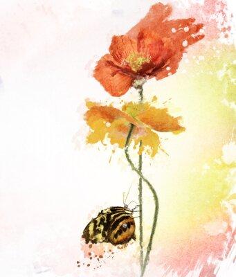 Canvastavlor Vallmo blommor vattenfärg