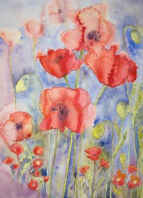Canvastavlor Vallmo i glada ljusa färger. Den badda teknik ger en mjuk fokus effekt på grund av den förändrade ytjämnhet av papperet.