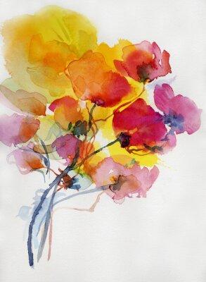 Canvastavlor vallmo, måla, vattenfärg