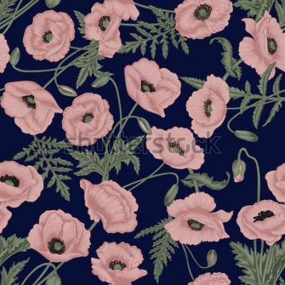 Canvastavlor Vallmo. Vector sömlös bakgrund i vintage stil. Växtmönster. Botanisk ritning.