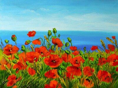 Canvastavlor vallmofält nära havet, färgrik kust, konst oljemålning