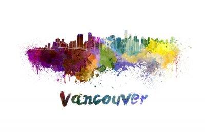 Canvastavlor Vancouver horisont i vattenfärg