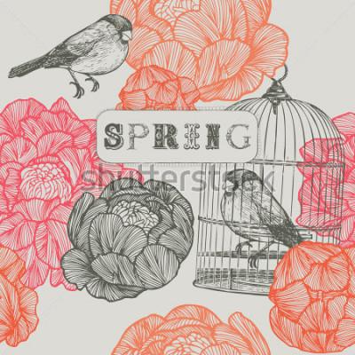 Canvastavlor Vår bakgrund. Fåglar och burar. Sömlöst mönster