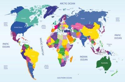 Canvastavlor värld geografisk och politisk karta
