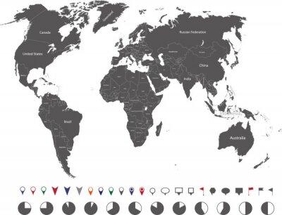 Canvastavlor Världskarta