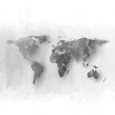 Canvastavlor Världskarta element, abstrakt hand plockade vattenfärg grå