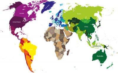 Canvastavlor världskarta färgad av kontinenter
