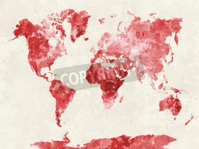 Canvastavlor Världskarta i akvarellmålning abstrakt stänker