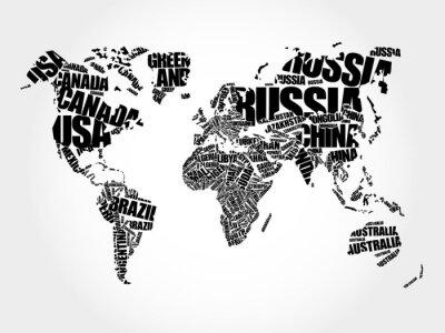 Canvastavlor Världskarta i typografi ord moln koncept, namnen på de länder