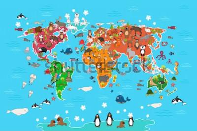 Canvastavlor Världskarta med djur. Apa och igelkott, björn och känguru, hare vargpanda och pingvin och papegoja. Djurvärldskartavektorillustration i tecknad stil