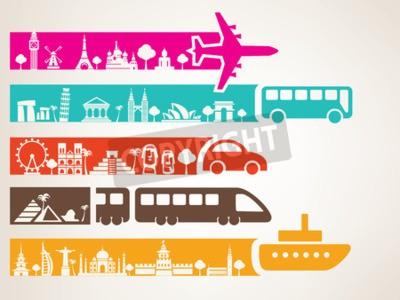 Canvastavlor Världsresor med olika typer av transporter, landmärken