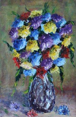 Canvastavlor vas med blommor, stilleben