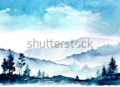 Canvastavlor Vattenfärg berget